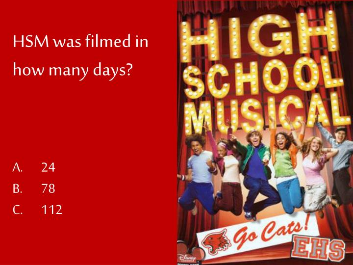 HSM was filmed in how many days?