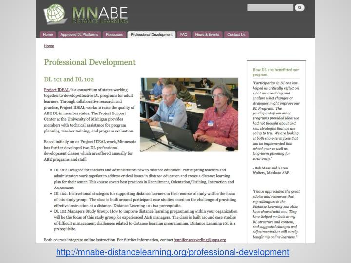 Http://mnabe-distancelearning.org/professional-development
