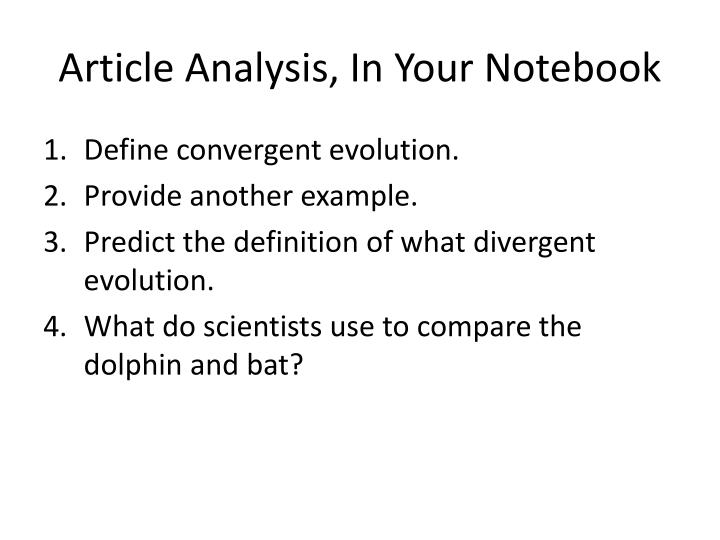 Article analysis in your notebook