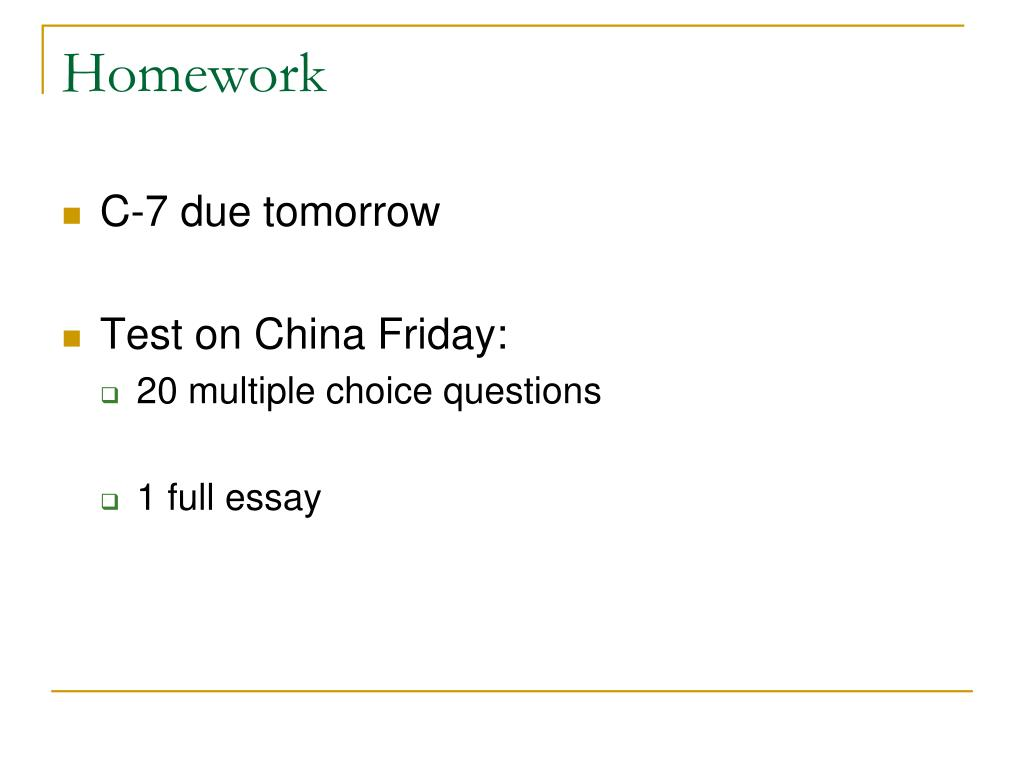 homework in china