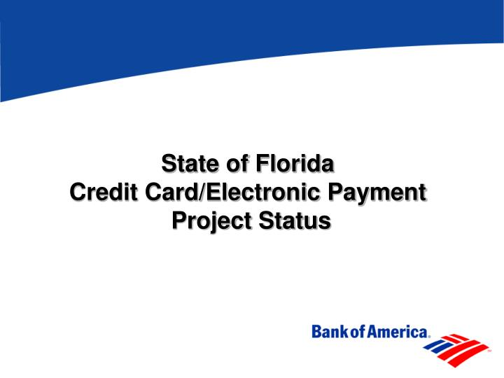 state of florida credit card electronic payment project status n.