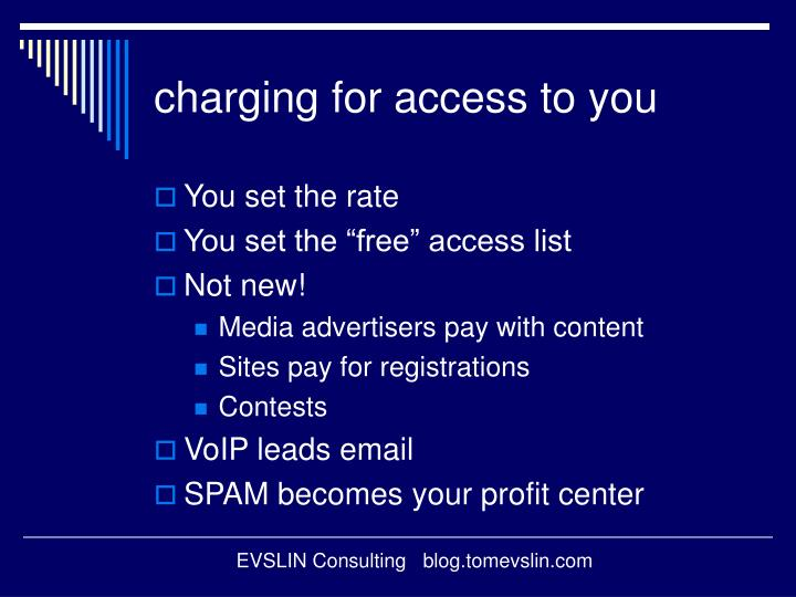 charging for access to you