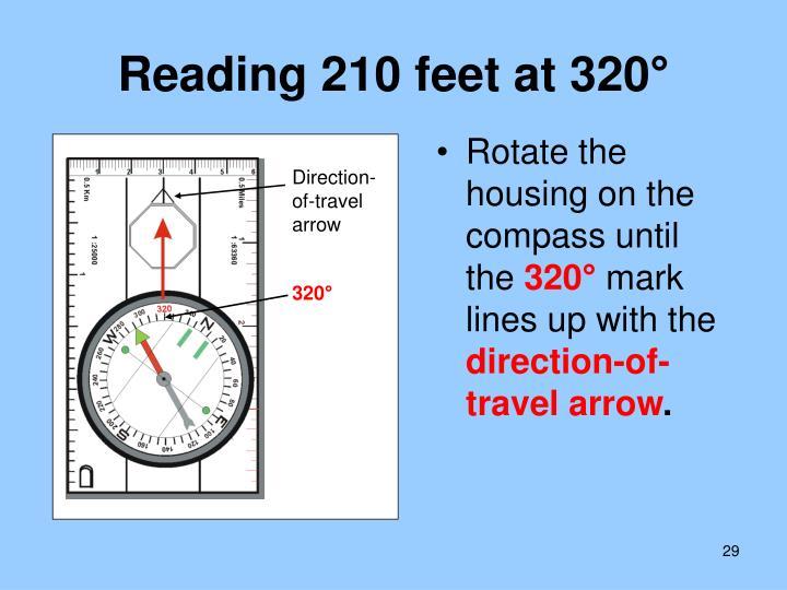 Reading 210 feet at 320