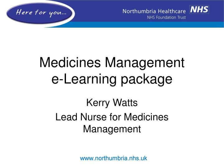 medicines management e learning package n.