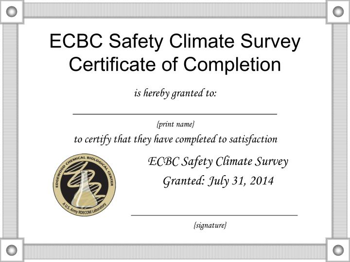 ecbc safety climate survey certificate of completion n.