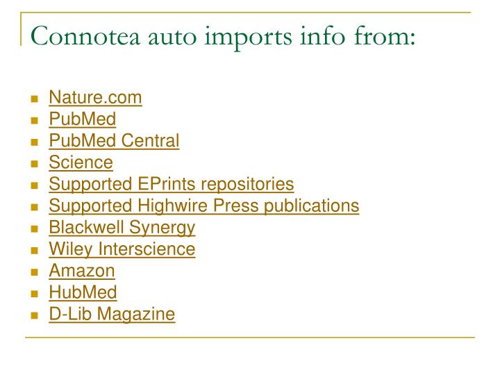 Connotea auto imports info from: