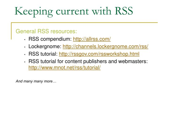 Keeping current with RSS