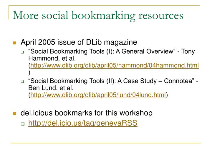 More social bookmarking resources