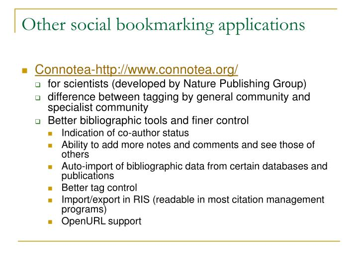 Other social bookmarking applications