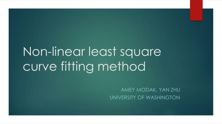 non linear least square curve fitting method n.