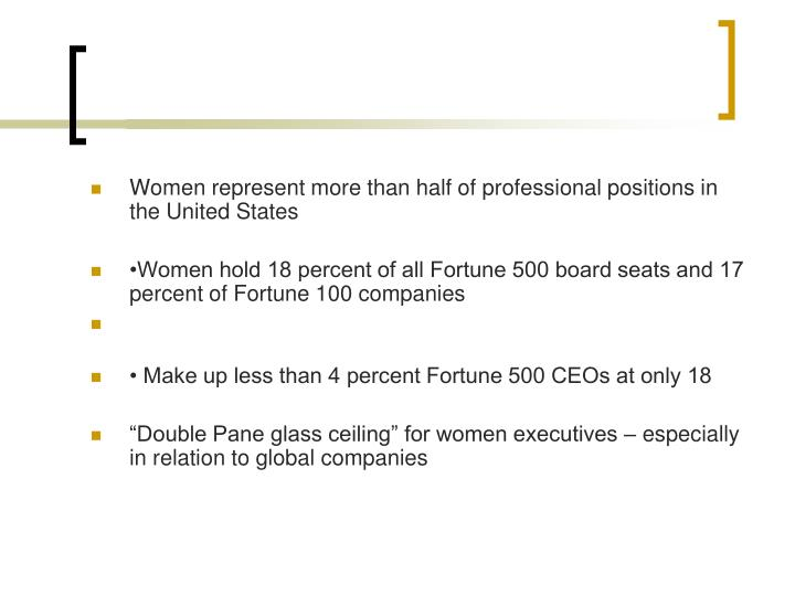 Women represent more than half of professional positions in the United States