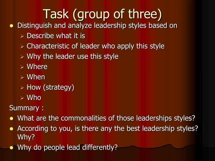 Task (group of three)