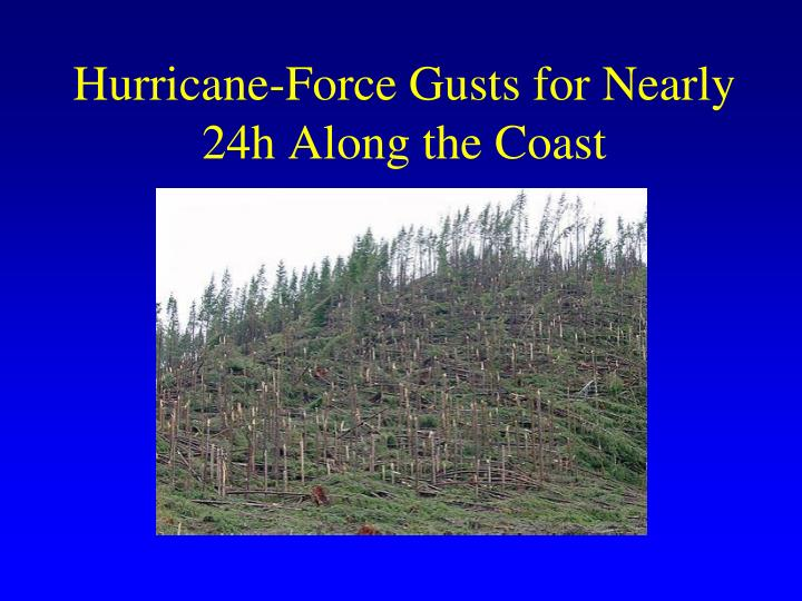 Hurricane-Force Gusts for Nearly 24h Along the Coast