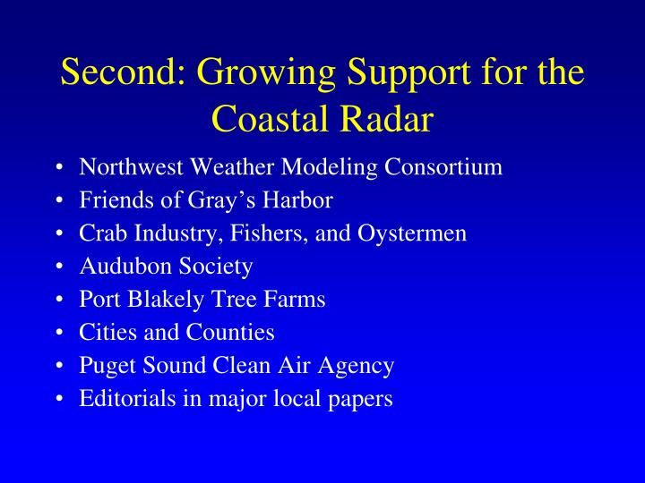 Second: Growing Support for the Coastal Radar