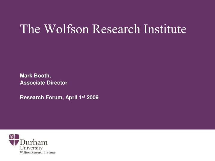 the wolfson research institute n.