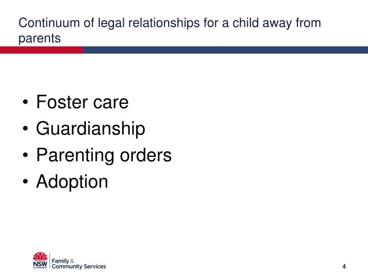 Continuum of legal relationships for a child away from parents