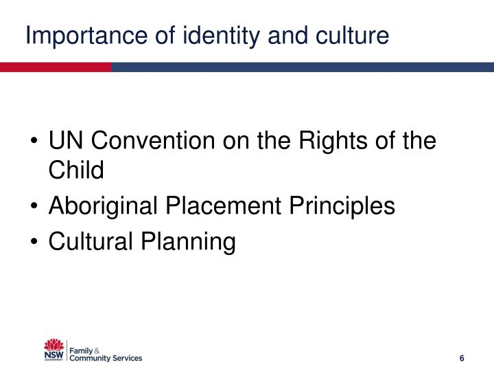 Importance of identity and culture