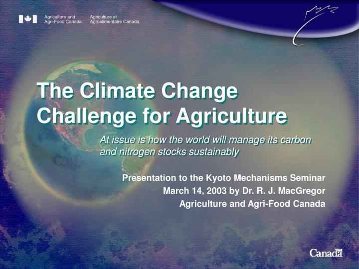 the climate change challenge for agriculture n.