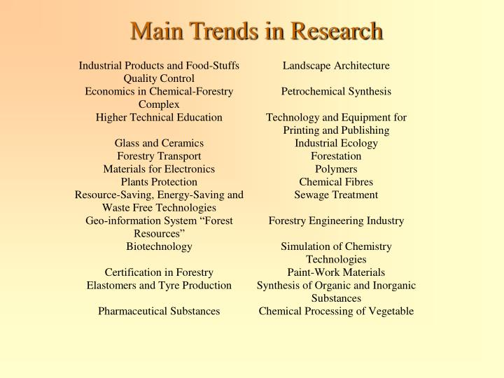 Main Trends in Research
