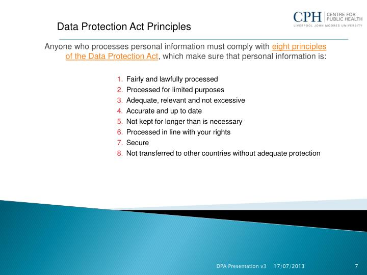 Data Protection Act Principles