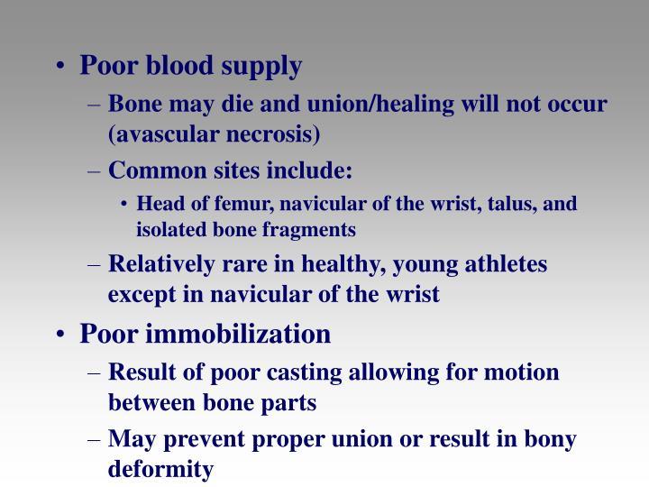 Poor blood supply