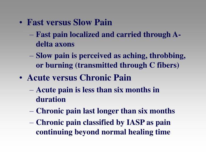 Fast versus Slow Pain