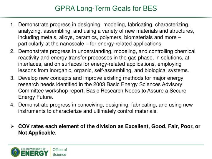 GPRA Long-Term Goals for BES