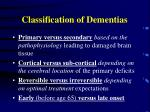 classification of dementias