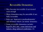 reversible dementias
