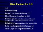risk factors for ad