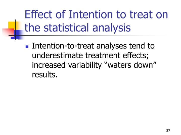 Effect of Intention to treat on the statistical analysis