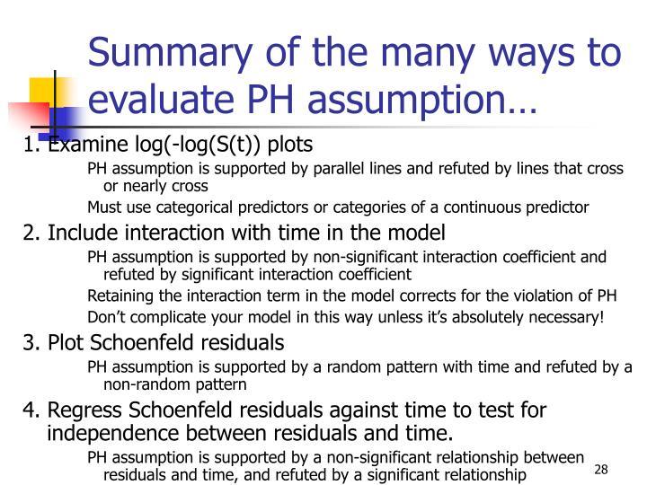 Summary of the many ways to evaluate PH assumption…