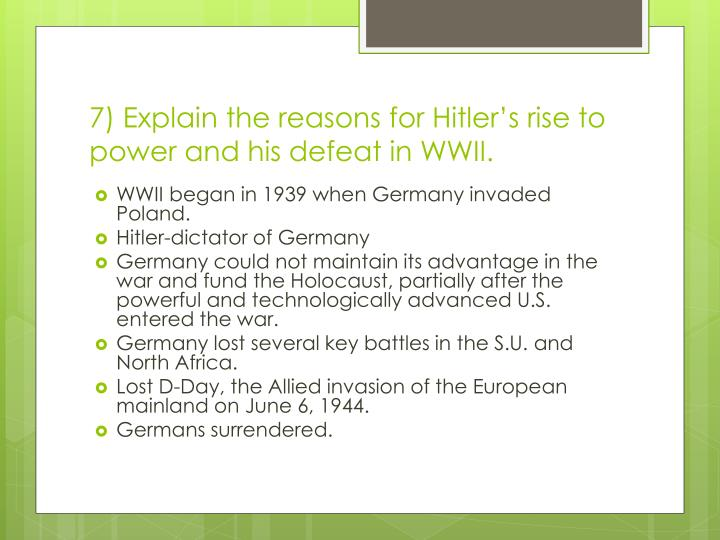 revision questions on hitler s rise to Hitler's rise to power 1933-1934 task: you need to make flash cards from these questions and answers or a mind map or any other way you find it easy to revise and retain knowledge you must revise this knowledge for 10-15 minutes each day and it will go into your long-term memory you will be tested on this two weeks from when you.