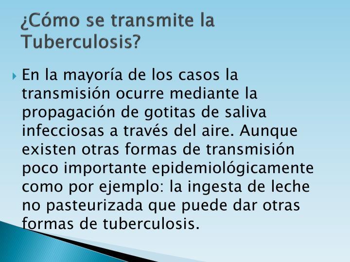 ¿Cómo se transmite la Tuberculosis?