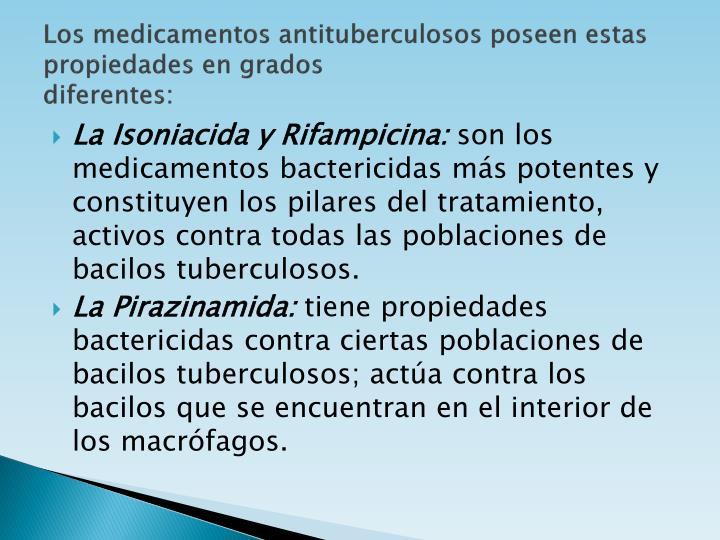 Los medicamentos antituberculosos poseen estas propiedades en grados