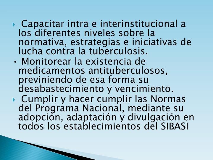 Capacitar intra e interinstitucional a los diferentes niveles sobre la normativa, estrategias e iniciativas de lucha contra la tuberculosis.