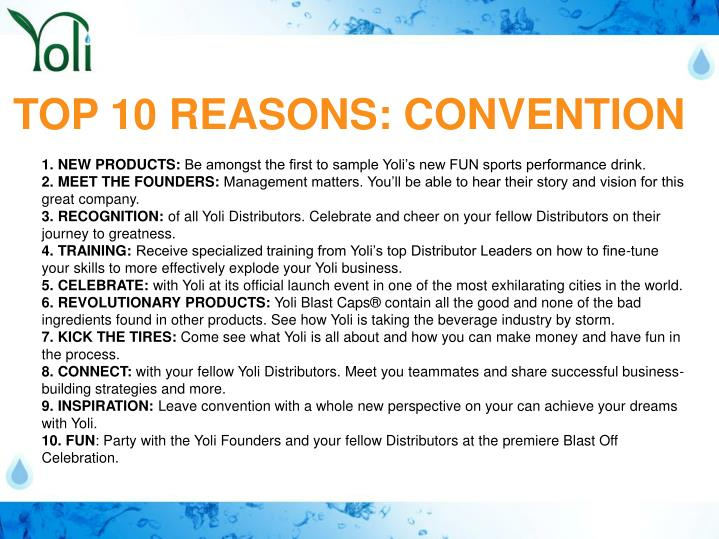 TOP 10 REASONS: CONVENTION
