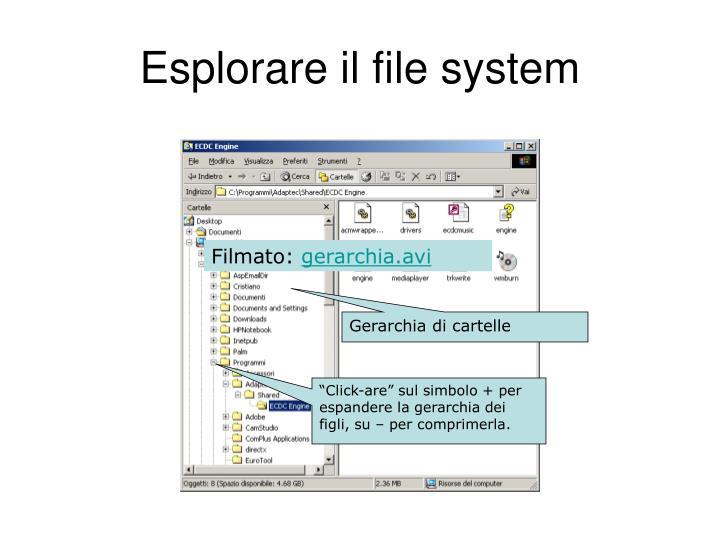 Esplorare il file system