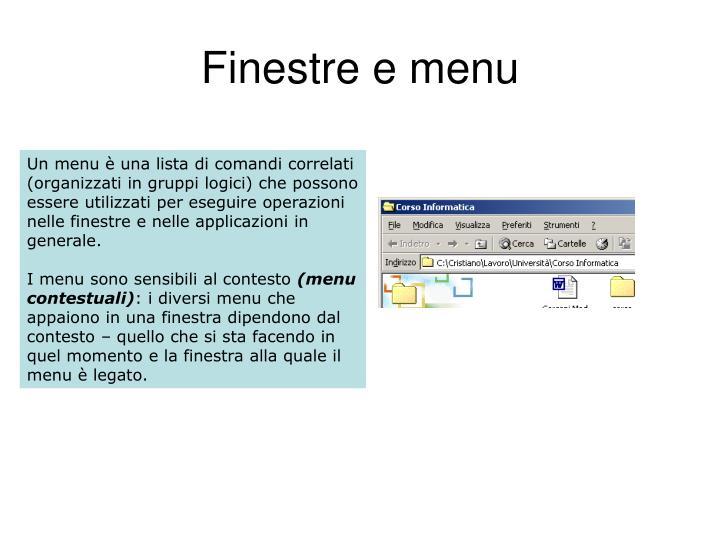 Finestre e menu