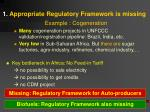 1 appropriate regulatory framework is missing