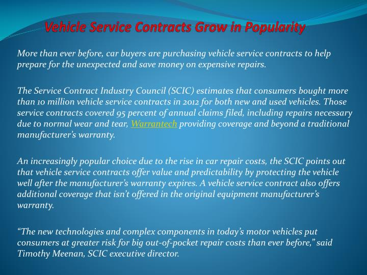 vehicle service contracts grow in popularity n.