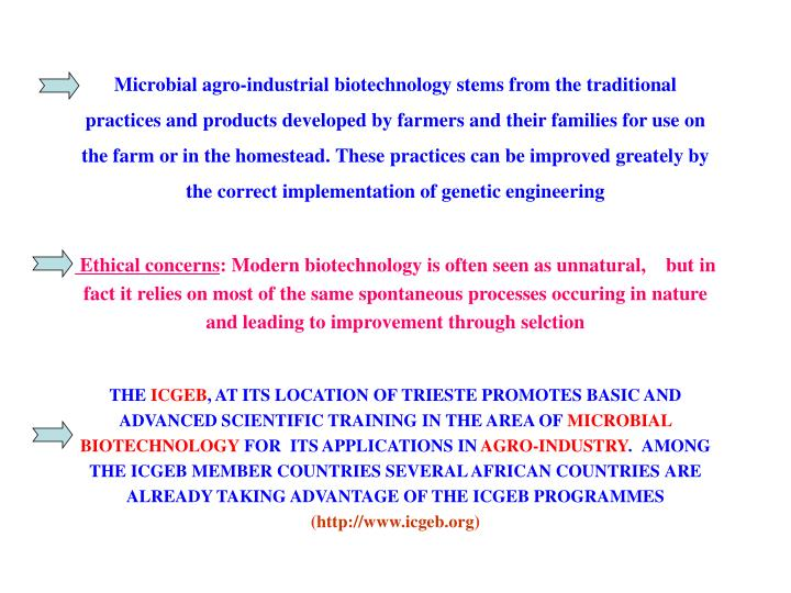 Microbial agro-industrial biotechnology stems from the traditional practices and products developed ...