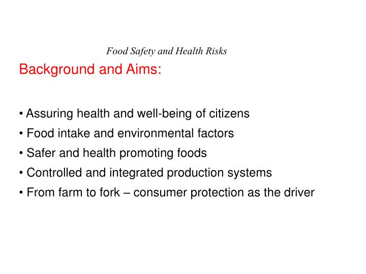Food Safety and Health Risks