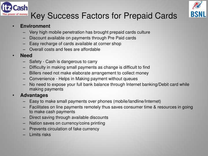 Key success factors for prepaid cards