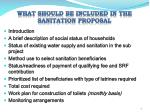 what should be included in the sanitation proposal