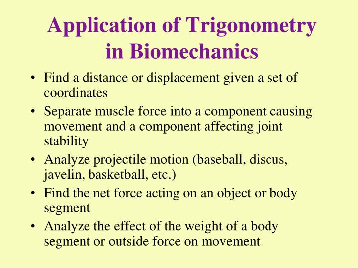 PPT - Application of Trigonometry in Biomechanics PowerPoint