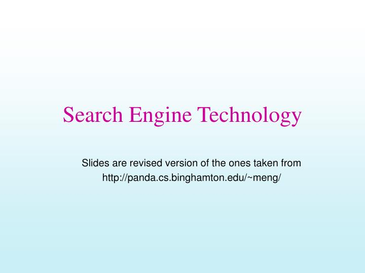 search engine technology n.