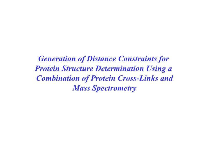 Generation of Distance Constraints for