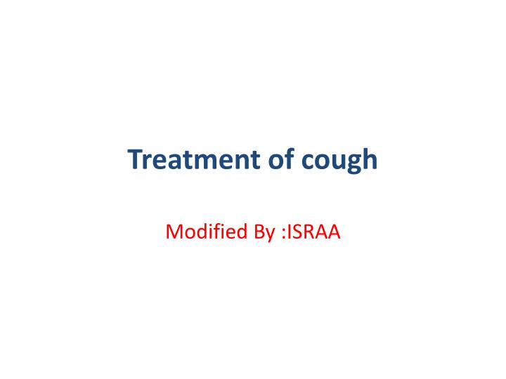 treatment of cough n.