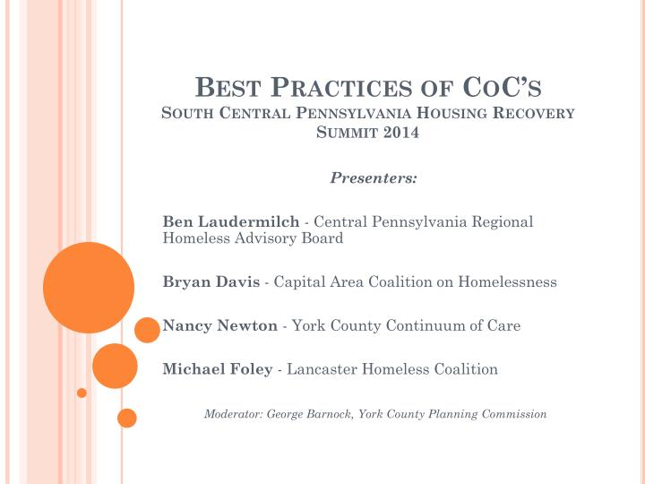 best practices of coc s south central pennsylvania housing recovery summit 2014 n.